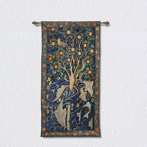Signare Tapestry - Woodpecker in Fruit Tree Wall Hanging -  (139cmx69cm)