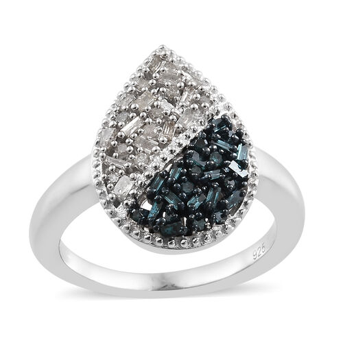 Blue and White Diamond (Rnd and Bgt) Ring in Platinum Overlay with Blue Plating Sterling Silver Ring