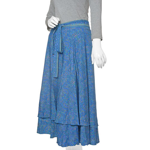 Designer Inspired - Blue Colour Paisley Printed Maxi Skirt (Free Size)