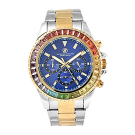 GENOA Simulated Rainbow Sapphire Studded 3 ATM Water Resistant Watch in Two Tone