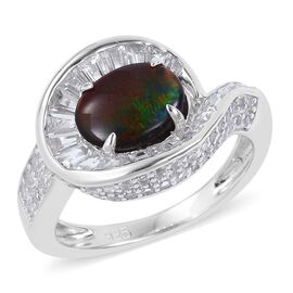 3.19 Ct AA Canadian Ammolite and White Topaz Halo Ring (Size L) in Platinum Plated Sterling Silver