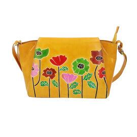 SUKRITI 100% Genuine Leather Floral Print Poppy Design Crossbody Sling Bag (Size 32x8x20 Cm) - Yello