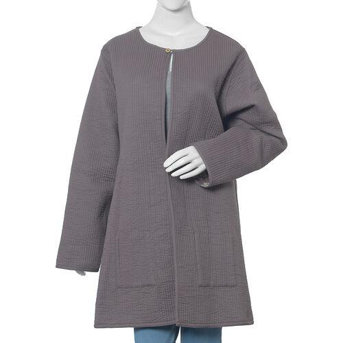 100% Cotton  Grey Colour Quilted Reversible Jacket (Size 108x87 Cm, M/L)