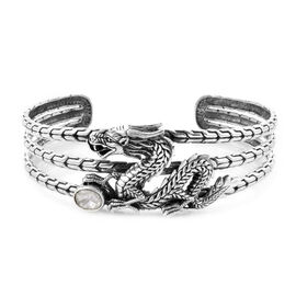 Royal Bali Collection - Polki Diamond Dragon Cuff Bangle (Size 7.5) in Sterling Silver 0.75 Ct., Sil