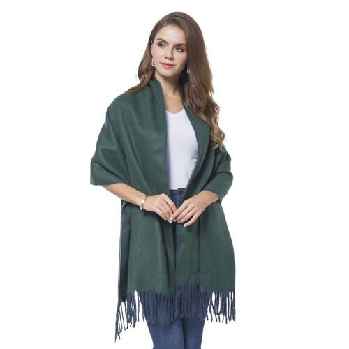 Italian Designer Inspired-Green and Blue Colour Reversible Scarf with Tassels (Size 180X56 Cm)