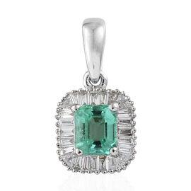 RHAPSODY 950 Platinum AAAA Boyaca Colombian Emerald (Oct 0.630 Ct) (VS) Diamond Halo Pendant  0.900  Ct.