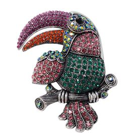 Multi Colour Austrian Crystal Toucan Brooch or Pendant With Chain (Size 24) in Antique Silver Plated