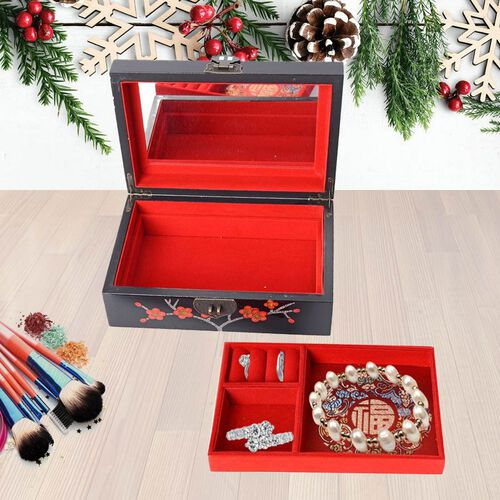 2 - Layer Plum Blossom Pattern Jewellery Box with Inside Mirror and Removable Tray (Size 21x14x7.5 Cm) - Black
