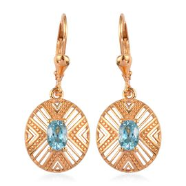 Ratanakiri Blue Zircon Lever Back Earrings in 14K Gold Overlay Sterling Silver 1.50 Ct.