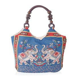 Blue and Multi Colour Elephant Pattern Tote Bag (Size 43x27x10.5 Cm)