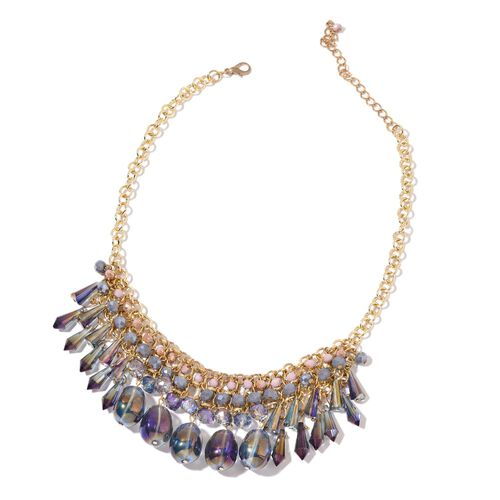 Simulated Mystic Topaz, Purple and Multi Colour Beads Necklace (Size 18 with 2 inch Extender) and Hook Earrings in Yellow Gold Tone