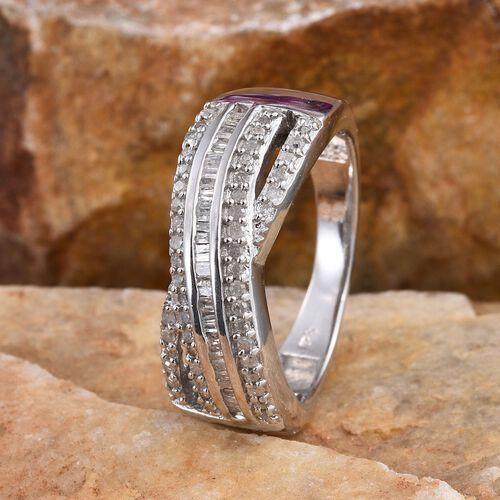 Diamond (Bgt) Criss Cross Ring in Platinum Overlay Sterling Silver 0.500 Ct.