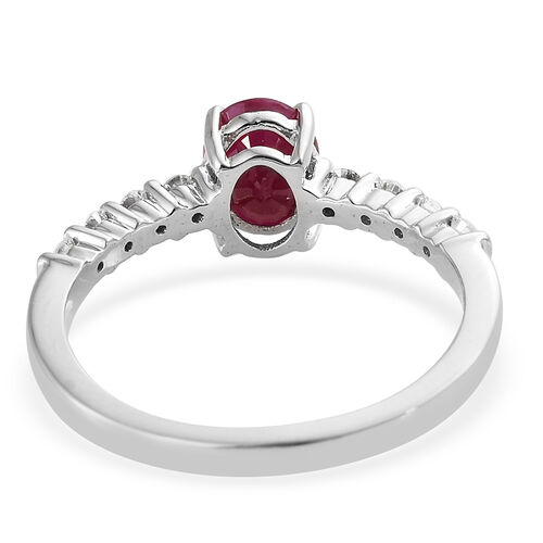 ILIANA 18K White Gold AAA Burmese Ruby (Ovl) Diamond Ring 1.750 Ct.
