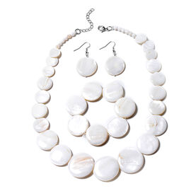 3 Piece Set White Shell Necklace 18 with 2 inch Extender Stretchable Bracelet 7 Inch and Hook Earrin