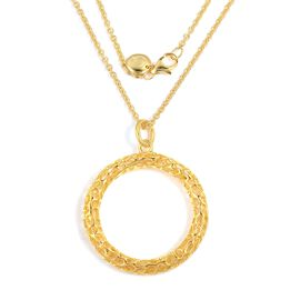 RACHEL GALLEY Lattice Circle Pendant With Chain in Gold Plated Silver 12.59 grams 30 Inch