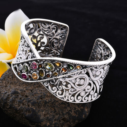 Bali Legacy Collection Multi-Tourmaline Cuff Bangle (Size 7.5) in Sterling Silver 6.90 Ct, Silver wt. 43.00 Gms