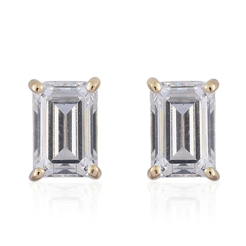 J Francis - 9K Yellow Gold Octagon Stud Earrings (with Push Back) Made with SWAROVSKI ZIRCONIA