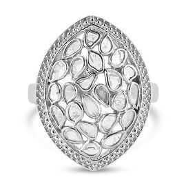 Artisan Crafted Polki Diamond Ring in Platinum Overlay Sterling Silver 1.05 Ct, Silver wt 5.97 Gms