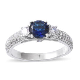 ELANZA Simulated Blue Sapphire (Rnd) and Simulated Diamond Ring in Rhodium Overlay Sterling Silver Ring