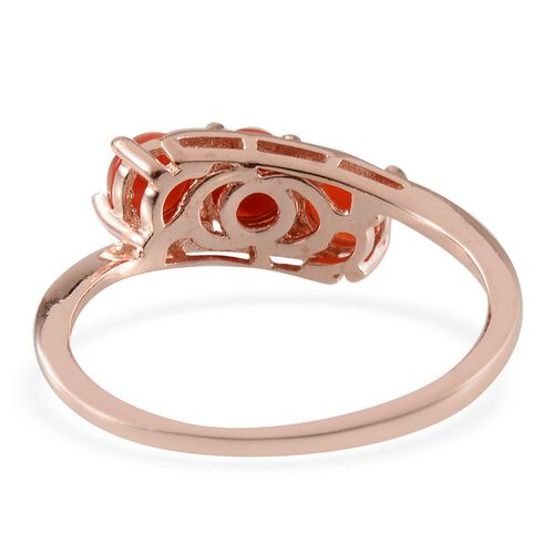 Mediterranean Coral (1.00 Ct) Sterling Silver Ring  1.000  Ct.