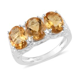 Citrine (Ovl) Three Stone Ring in Sterling Silver 3.50 Ct.