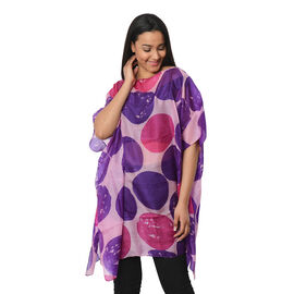 100% Mulberry Silk Kaftan One Size (90x100 Cm) - Pink and Blue