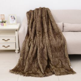 One Time Close Out Deal Deluxe Faux Fur Blanket - Brown Bear (Size 200x150 Cm)