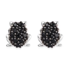 Boi Ploi Black Spinel (Rnd) Frog Earrings (With Push Back) in Platinum Overlay and Black Plating Ste