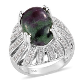 8 Ct Ruby Zoisite and Natural Cambodian Zircon Cocktail Ring in Platinum Plated Silver 6.05 Grams