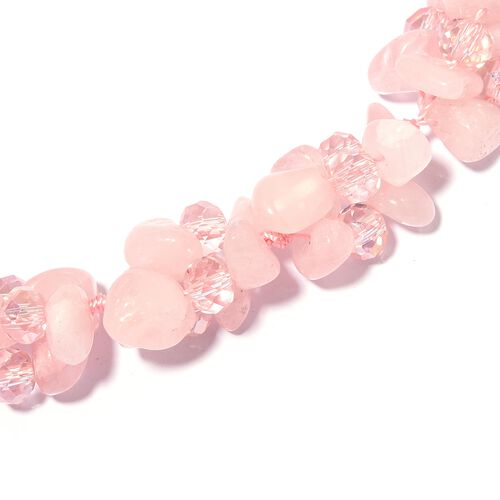 Rose Quartz, Simulated Pink Topaz Beads Necklace (Size 18) 343.000 Ct.