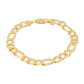 Italian Made Close Out-  14K Gold Overlay Sterling Silver Figaro Bracelet (Size 8.5) Silver Wt 13.30