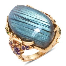 GP 37.21 Ct Labradorite and Multi Gemstone Classic Ring in 14K Gold Plated Silver 7.50 Grams