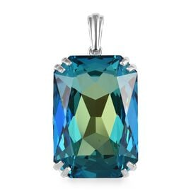J Francis Bermuda Blue Crystal from Swarovski Solitaire Pendant in Platinum Plated Silver 9 Grams