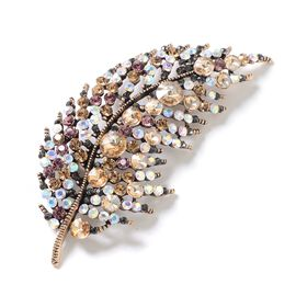 Antique Finish - Multi Colour Austrian Crystal (Rnd) Feather Brooch in Gold Tone