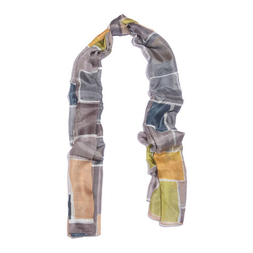 100% Mulberry Silk Green, Yellow and Multi Colour Handscreen Printed Scarf (Size 200X100 Cm)