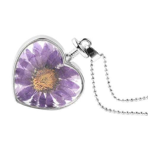 Dried Flower Heart Pendant with Chain (Size 24) in Silver Tone