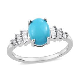 1.15 Ct AAA Arizona Sleeping Beauty Turquoise and Diamond Ballerina Ring in 9K White Gold