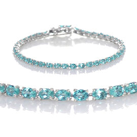 One Time Deal- AAA Paraiba Apatite (Ovl) Tennis Bracelet (Size 7.5) in Platinum Overlay Sterling Sil