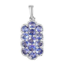 Tanzanite Cluster Pendant in Platinum Plated Sterling Silver 1.75 Ct