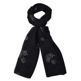 Black Colour Dandelion Pattern Scarf (Size 180x70 Cm)