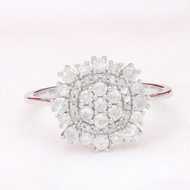 9K White Gold SGL Certified Diamond (I3/G-H) Cluster Floral Ring 1.00 Ct.