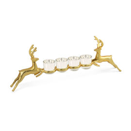 Home Decor - Nickle Reindeer Glass Holder in Gold Tone