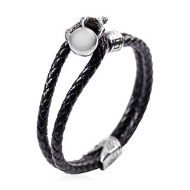 MP Braided Leather Bracelet (Size 7.5) in Stainless Steel