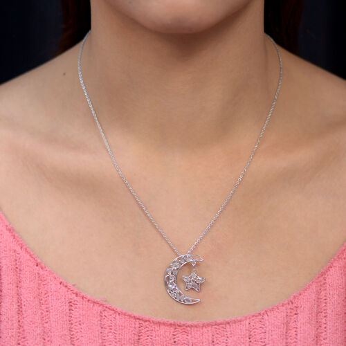 Artisan Crafted Polki Diamond Moon and Star Pendant with Chain (Size 18) in Platinum Overlay Sterling Silver 0.50 Ct.