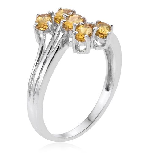 Tanzanian Scapolite (Ovl) 5 Stone Crossover Ring in Platinum Overlay Sterling Silver 1.000 Ct.