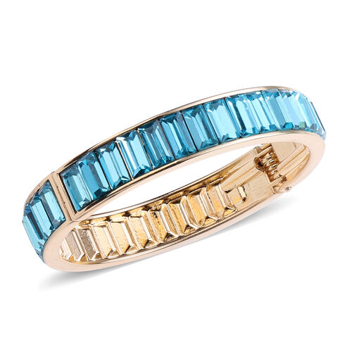 2 Piece Set - Simulated Aquamarine Eternity Bangle (Size 7.5) and Earrings (with Push Back) in Gold Tone