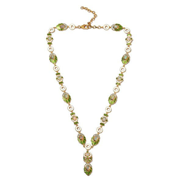 Ethiopian Welo Opal and Natural Cambodian Zircon Enamelled Necklace (Size 18 with 2 inch Extender) i