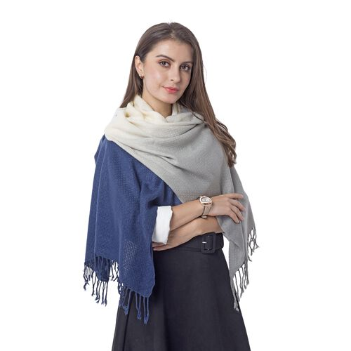 Grey, Navy Blue and Off White Colour Scarf (Size 180x62 Cm)
