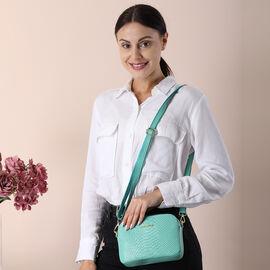 SENCILLEZ 100% Genuine Leather Snakeskin Pattern Crossbody Bag with Detachable Strap and Zipper Closure (Size 20x5x13cm) - Green
