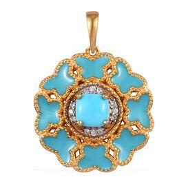 Arizona Sleeping Beauty Turquoise, Natural Cambodian Zircon Enamelled Pendant in 14K Gold Overlay St